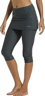 UPF 50+ Women Swim Skirted Capris Active Athleic Leggings with Skirt Rungning Skort Sun Protective