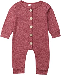 Mekysd Newborn Kids Baby Boys Cute Solid Color Long Sleeve Button Up Romper Jumpsuit Top Outfits Clothes