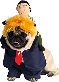 NucLighter Funny President Trump Pet Costume Wig Suit Doll Halloween Party Outfit Costume for Dogs Cats