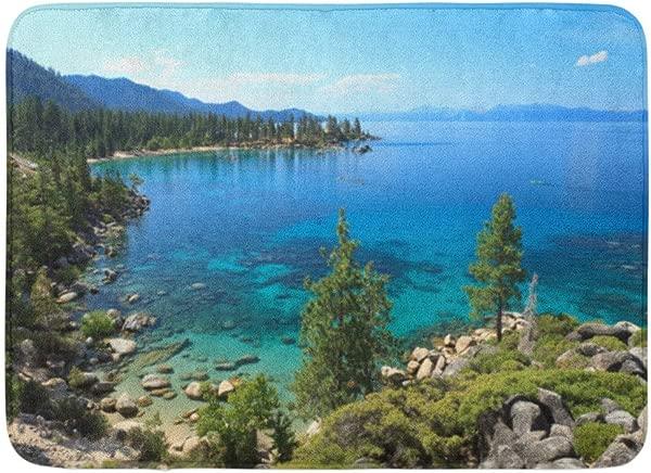 GTdgstdsc Doormats Bath Rugs Outdoor Indoor Door Mat Blue Summer Lake Tahoe Nevada California Beach Landscape Mountain Bathroom Decor Rug 16 X 24