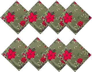Newbridge Peaceful Poinsettia Green Border Christmas Fabric Napkin Set, Double Border Holly Xmas Print Cloth Napkins, Set of 8 Fabric Napkins, Green