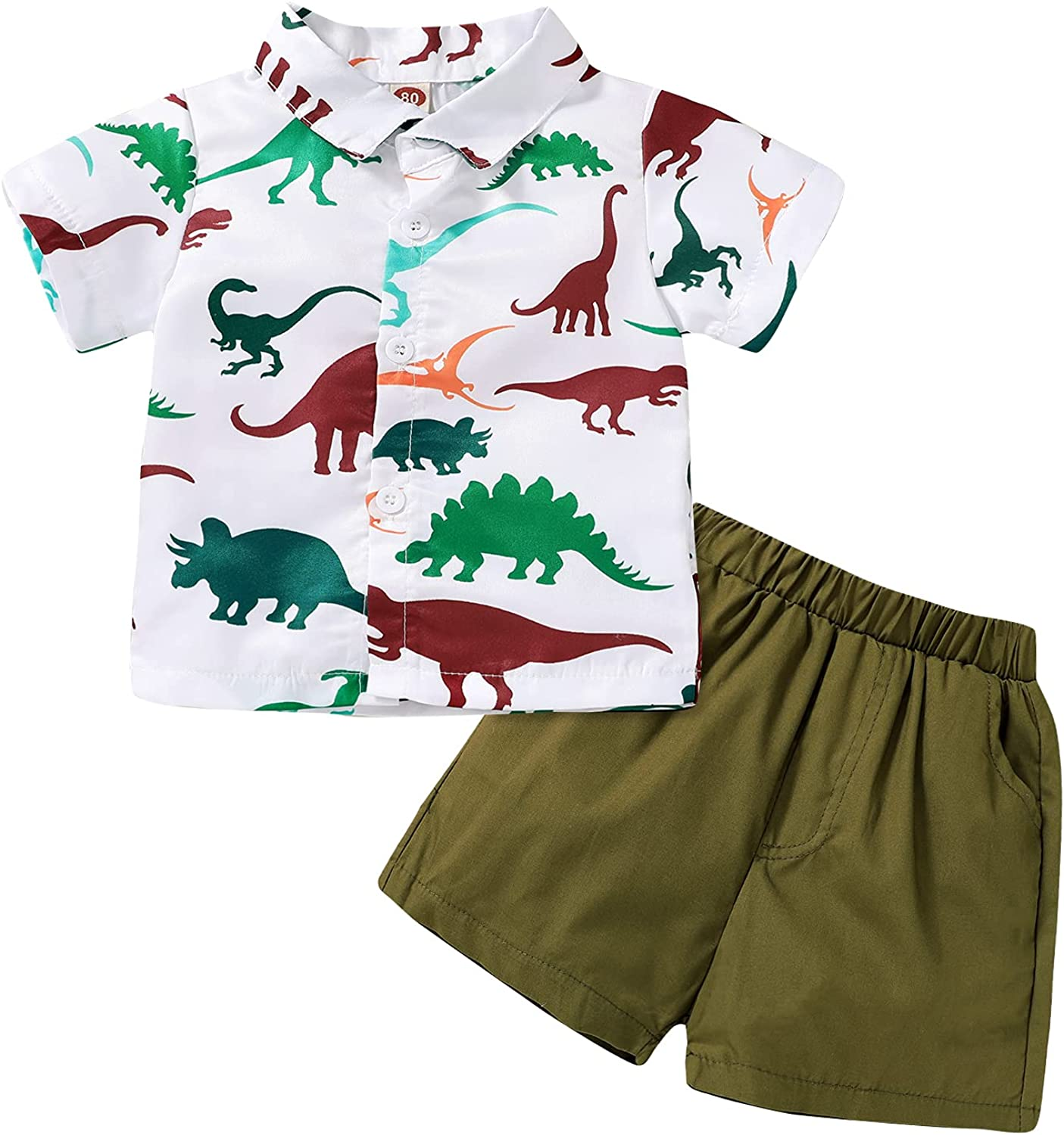 JEELLIGULAR Toddler Baby Boy Summer Clothes Short Sleeve Button Down Shirt Shorts Set Gentlemen Casual Outfits 1-6 Years