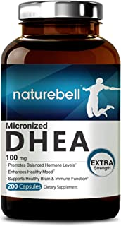 Maximum Strength DHEA 100mg, 200 Capsules, Supports Energy Level, Metabolism and Libido Health for Men and Women, No GMOs, Made in USA