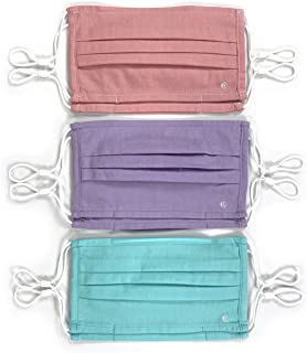 Con.Struct Machine Washable Unisex Cotton Pleated Mask Aqua/Lilac/Rose Solid 6-Pack for Adults