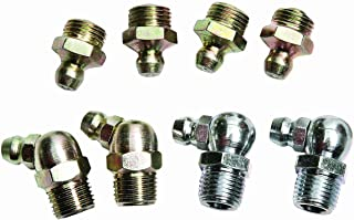 "Lumax Gold/Silver LX-4803 (SAE) 1/8"" P.T.F. 8 Piece Grease Fitting Assortment. Fully Hardened for Extra Durability and to Protect Them from wear Due to Constant use"