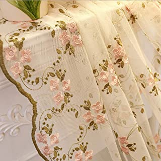 pureaqu Pink Floral Green Leaves Embroidered Sheer Curtain Panels 63 Inches Long Rod Pocket Rustic Style Semi Sheer Voile Drapes for Living Room/Sliding Glass Door Single Panel W52 x L63 Inch
