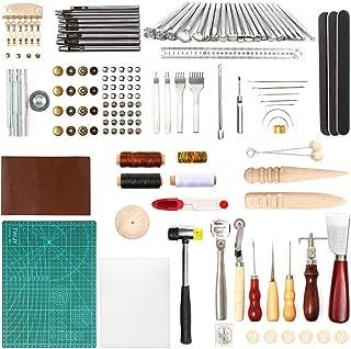 costura y perforaci/ón molinillo y sill/ín MUUZONING Juego de 48 herramientas de piel para manualidades kit de reparaci/ón de cuero para trabajos de corte y tallado de piel accesorios de trabajo