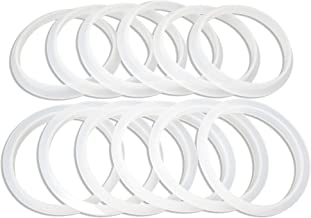 Unique, Reusable Silicone Seals for use with Wide Mouth Ball, Mainstays White Plastic Lids and Ball Black Plastic Leak Proof Lids For Mason Jars, Seal Sits on Rim of Jar Not Inside Lid – 12 Pack