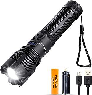 RIMICAB Super Bright XHP70 LED-ficklampa, USB-uppladdningsbar taktisk ficklampa, Kompatibel 18650 (ingår) och AAA-batteri,...