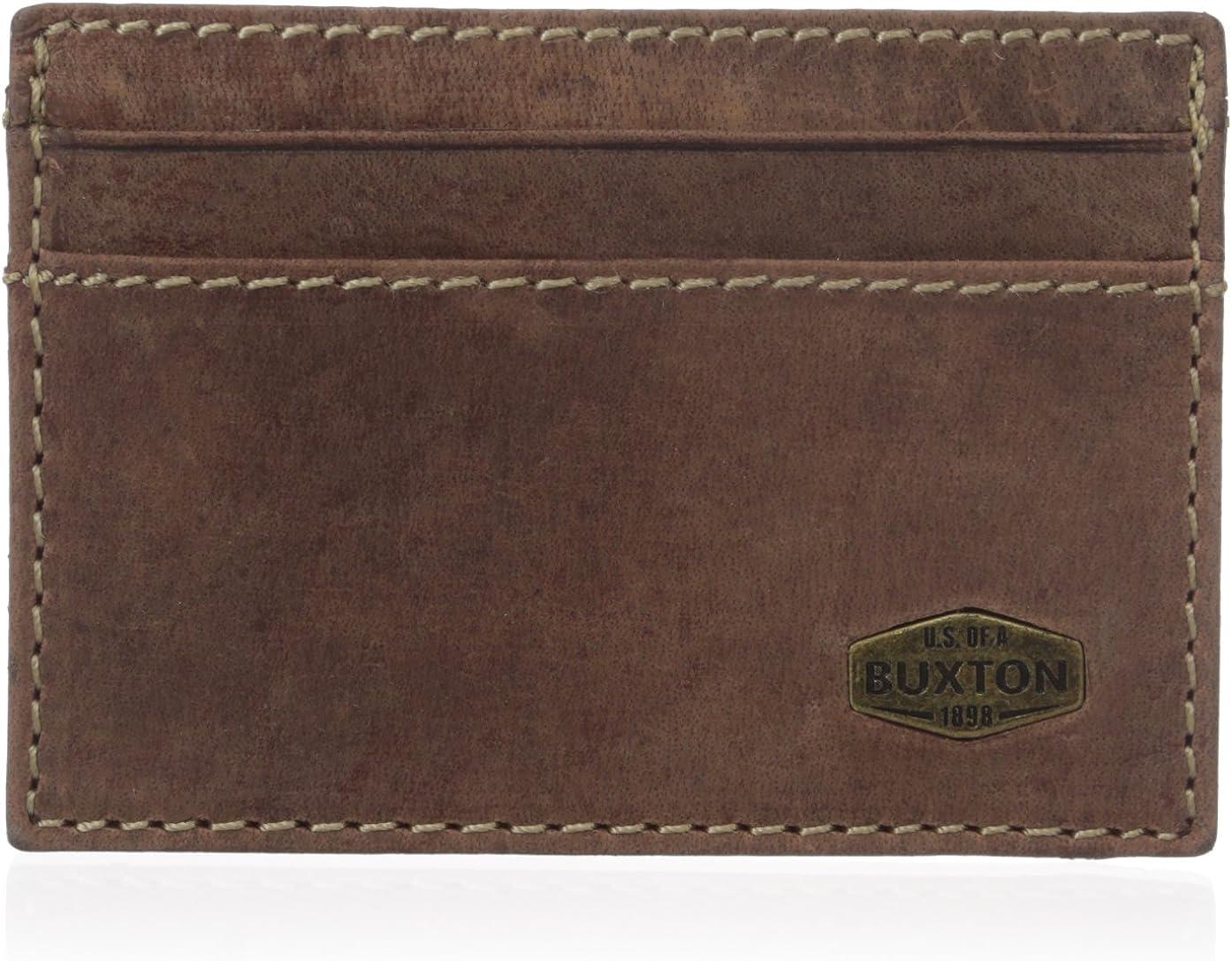 Buxton Men's Expedition RFID Blocking Leather Slim Minimalist Front Pocket Get-Away Wallet