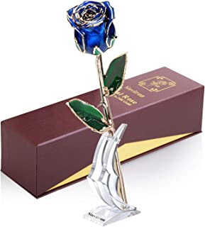 Sinvitron Gold Dipped Rose, Long Sterm Real Rose Dipped in 24K Gold with Stand & Gift Box, Ideal Gift for Valentines's Day/Wedding Anniversary/Mother's Day/Birthday/Christmas for her (Blue Bud)