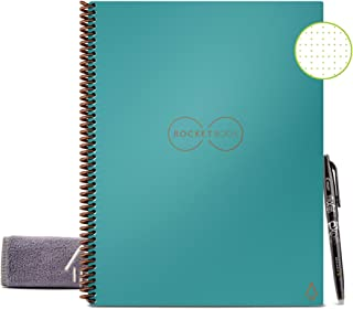 """Rocketbook Smart Reusable Notebook - Dotted Grid Eco-Friendly Notebook with 1 Pilot Frixion Pen & 1 Microfiber Cloth Included - Neptune Teal / Light BlueCover, Letter Size (8.5"""" x 11"""")"""