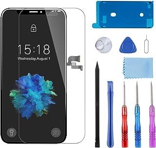 YPLANG For iPhone X フロントパネル 液晶パネル 画面交換 、修理用交換用LCD - 液晶パネルセット、ガラス交換、修理工具付き、画面保護フィルム付属 (iPhone X ブラック) …