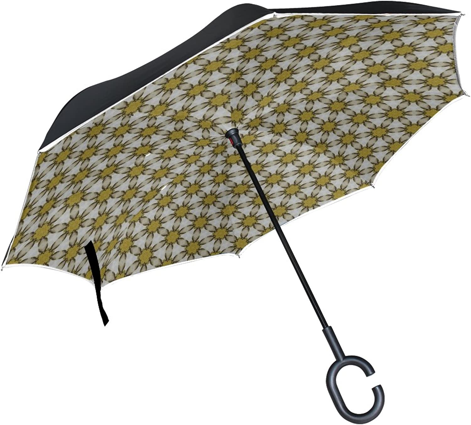 Double Layer Ingreened Pattern Texture Scrapbook Umbrellas Reverse Folding Umbrella Windproof Uv Predection Big Straight Umbrella for Car Rain Outdoor with CShaped Handle