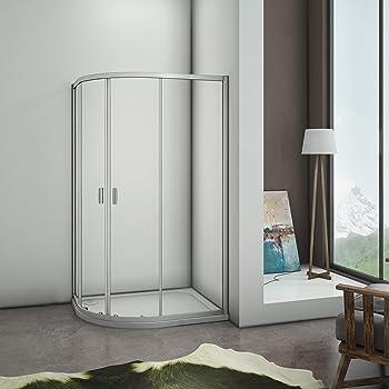 Mamparas de ducha Semicircular Puerta Corredera Gris Mate 5mm 80x120x185cm: Amazon.es: Bricolaje y herramientas