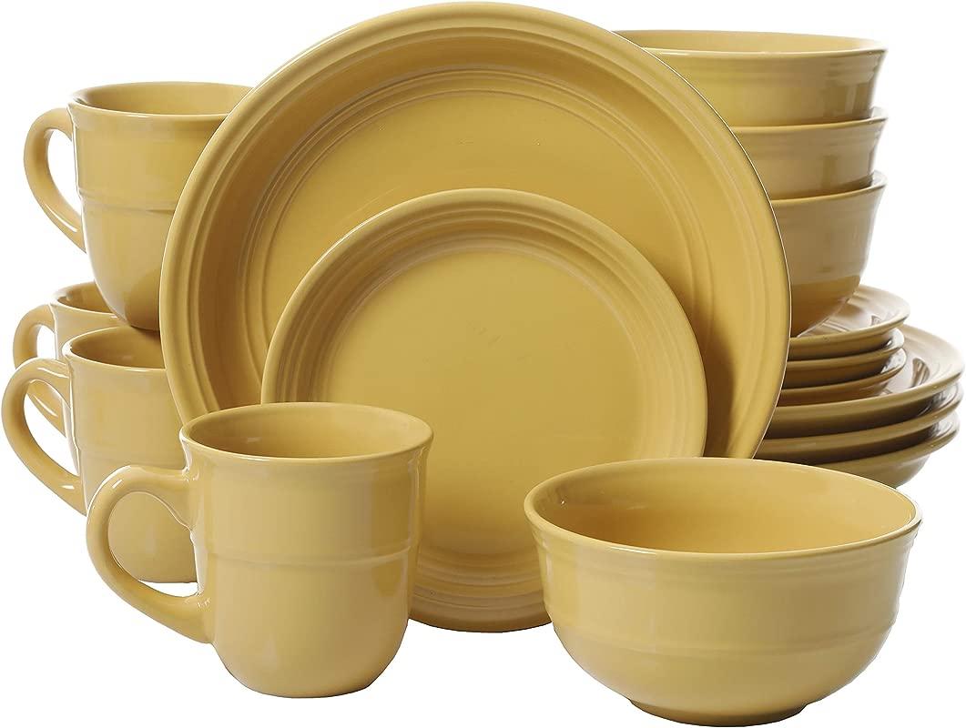 Mainstays Yellow Rainforest 16 Piece Dinnerware Set