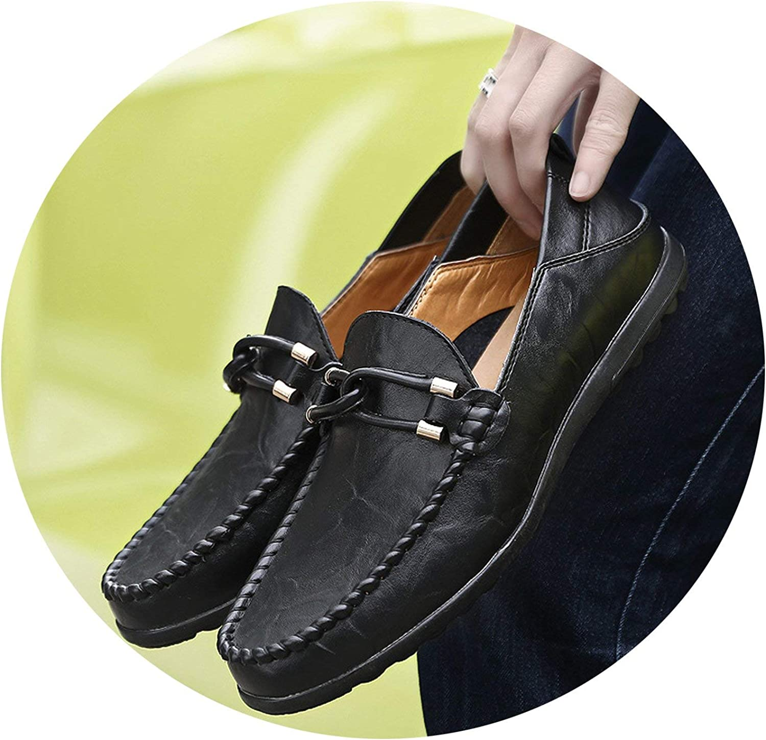 OH WHY Handmade Genuine Leather Men Casual shoes Loafers Moccasins Breathable Slip on Driving shoes
