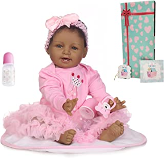 Zero Pam Reborn Baby Dolls African American Black Girls 22 inch Smiling Reborn Toddler Doll Weighted Body Soft Girls Reali...