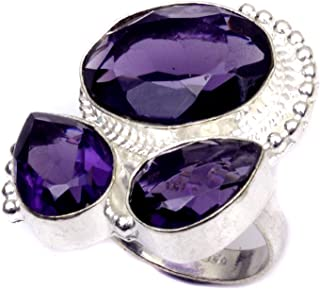 Nimbark Faceted African Amethyst Handmade Jewelry Ring 8''