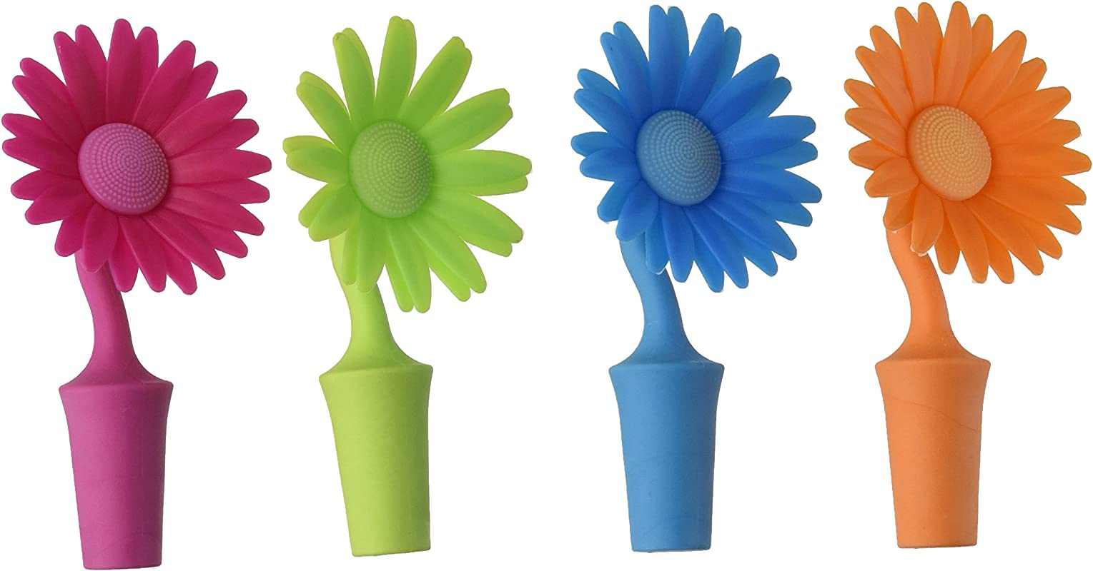 Southern Homewares Flower Bottle Stoppers 4 Pack Made Of Silicone
