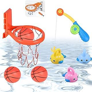 aovowog Agua Juguete de baño Juego de Pesca y Canasta Baloncesto Infantil Bañera y 3 Bolas, 3 Peces flotantes de Goma y 1 Barras Regalo para Niños Niñas(8 Peces)