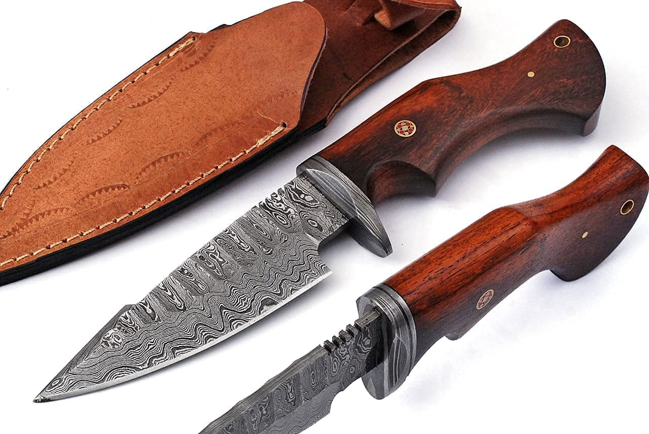 Custom Handmade Damascus Hunting Knife - Best Damascus Steel Blade Hunting Skinning Knife- Fixed Blade Camping, Survival Knife With Leather Sheath