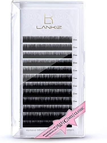 LANKIZ Eyelash Extensions Individual Lashes 0.15/0.20mm C/D Curl 8-15mm Mixed Premium Single &Classic Mink Lashes Pro...