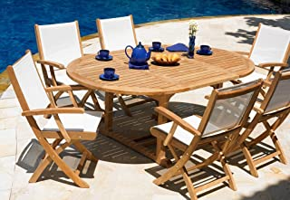 Three Birds Casual Chelsea Round Extension Table with 4 Rivera Folding Armchairs Set, Teak