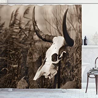 Western Shower Curtain by Ambesonne, Photo of a Bull Skull on a Stick Bushes Totem Native American Myth Art Print, Fabric Bathroom Decor Set with Hooks, 75 Inches Long, Black and White