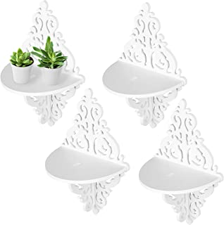 MyGift Wall Mounted Floating Shelves, Display Stand Rack w/Ornate Scrollwork Design, White, Set of 4