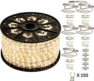 AQL Dimmable Warm White LED Rope Light Deluxe Kit, 120 Volts, Full 360 Degrees LED 513PRO Diode, 150ft/Roll, Commercial Grade Indoor/Outdoor Rope Light, IP65 Waterproof