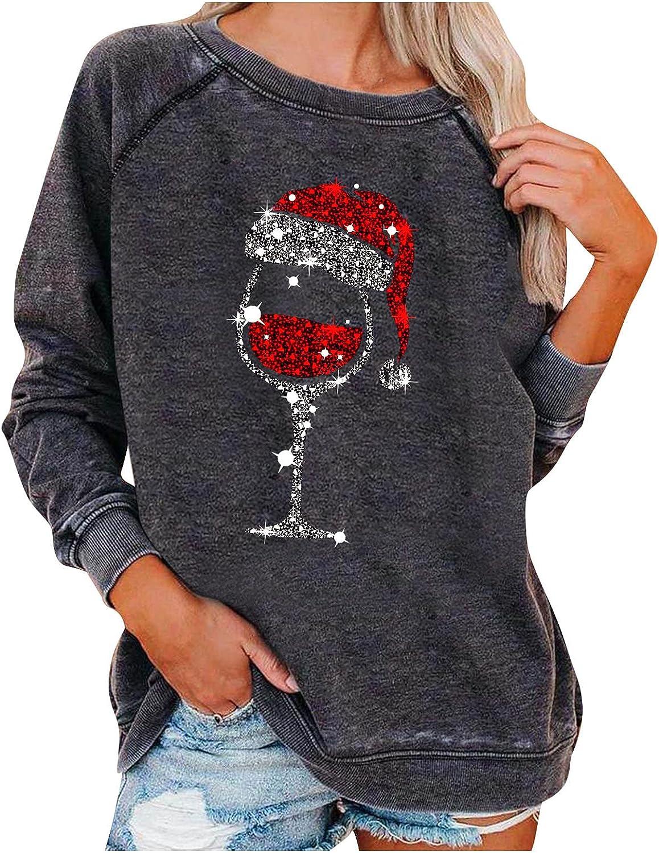 5665 Women Crewneck Sweatshirts,Oversize Long Sleeve Tunic Tops Shirts Cute Christmas Hat Print Casual Basic Blouse Pullover