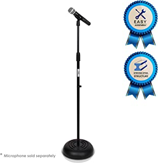 Microphone Stand – Universal Mic Mount with Heavy Compact Base, Height Adjustable..