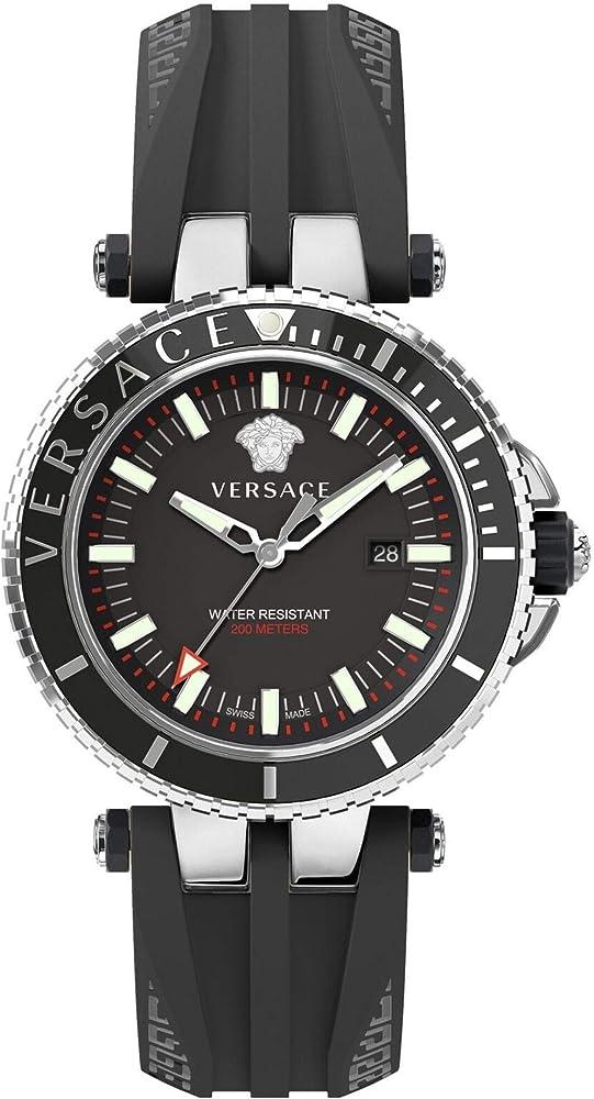 Versace v-race, orologio da uomo, cassa e lunetta in acciaio inossidabile lucido, cinturino in silicone nero VEAK001 18