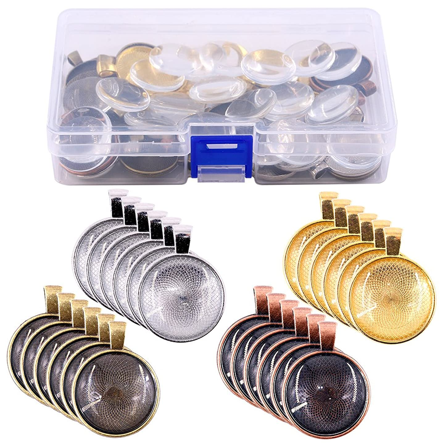 Glarks 56Pcs 4 Colors Pendant Trays Round Bezel with Glass Cabochon Round Clear Dome Tiles for Crafting DIY Jewelry Making