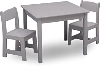 Delta Children MySize Kids Wood Chair Set and Table (2 Chairs Included), Grey