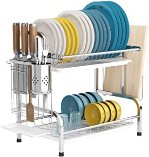 Dish Drying Rack with Drainboard, 2 Tier 304 Stainless Steel Dish Rack with Trays, Utensil Holder, Cutting Board Holder, R...
