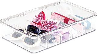 mDesign Caisson de Rangement Transparent – Boite de Rangement à Couvercle – Boite en Plastique Transparent résistant