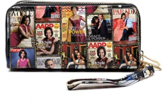 Glossy magazine cover collage Michelle Obama printed large capacity zipper wallets with wrist band