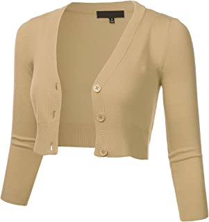 5ceffb3be70 FLORIA Women's Solid Button Down 3/4 Sleeve Cropped Bolero Cardigan Sweater  (S-