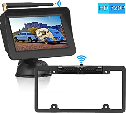 $109 » Digital Wireless Backup Camera &5'' Monitor HD 720P Kit for Cars, RVs,Trucks,Pickups, Campers IP69 Waterproof Rear/Front View Switchable Driving Monitoring/Reversing Use Guide Lines On/Off