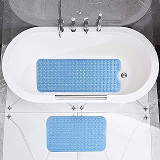 Aokyom 2 PCS Alfombra para Bañera Antideslizante,100*40CM Alfombra de Baño Extra Larga y 70*40CM Alfombra para Ducha,Bath ...