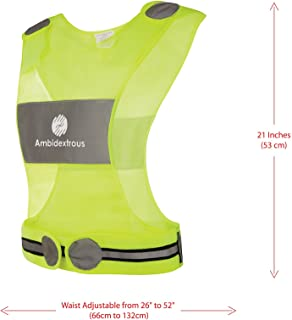 Ambidextrous Reflective Vest for Running Cycling Jogging Motorcycle Dog Walking - High Visibility Safety Gear for Men and Women - Yellow Lightweight Breathable Mesh Fabric with Zipper Storage Pocket