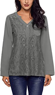 Womens Lace Panel Split Neck Roll Tab Sleeve Tunic Blouse Tops