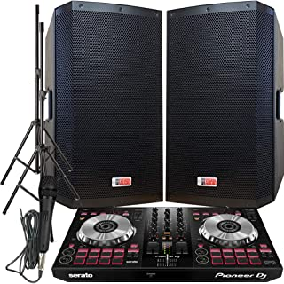 "Rock The House DJ System - Pioneer DJ Controller DDJ-SB3 - Serato DJ Lite Software - 4000 WATTS! - 15"" ZX-15P Powered Speakers w/Stands and Mic"