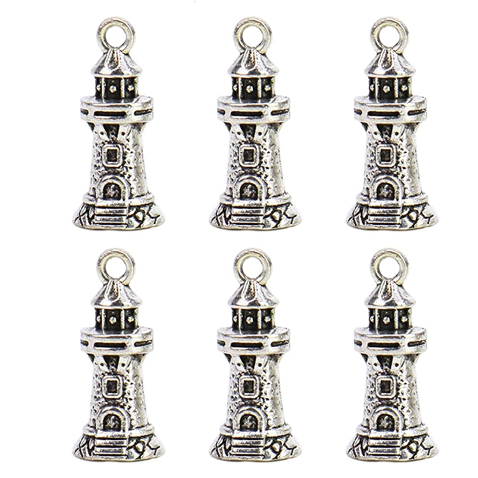 Monrocco 25pcs Lighthouse Charms Pendants 3D Sea Beach Charm for Jewelry Making DIY 21x9mm (Antiqued Silver)