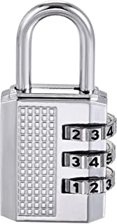 uxcell 3 Digit Combination Luggage Lock Travel Resettable Padlock Zinc Alloy Silver Tone 53x26x11mm