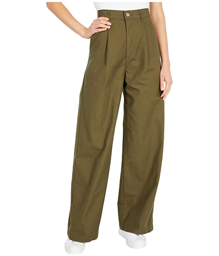 Vintage High Waisted Trousers, Sailor Pants, Jeans Levisr Premium Pleated High Loose Crisp Twill Olive Night Womens Jeans $98.00 AT vintagedancer.com