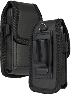 Flip Phone Case, Nakedcellphone Black Vegan Leather Vertical Pouch [with Belt Loop, Metal Clip, Magnetic Closure] for Alca...