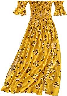 Womens Off Shoulder Floral Slit Midi Short Sleeve Dress